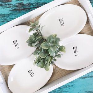 Rae Dunn   Icon Oval Plate Set of 4 Eat Chow Savor